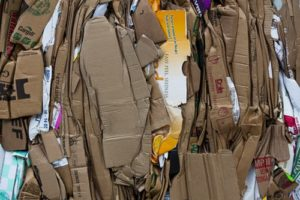 Layers of cardboard that are going in the recycling